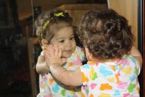 Saying hi to Mirror Baby