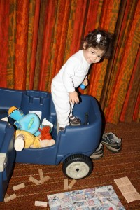 Coraline in her swagger wagon