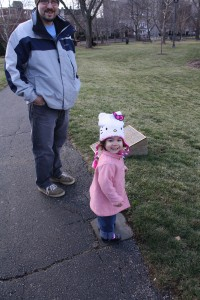 Coraline and her poppa in the park
