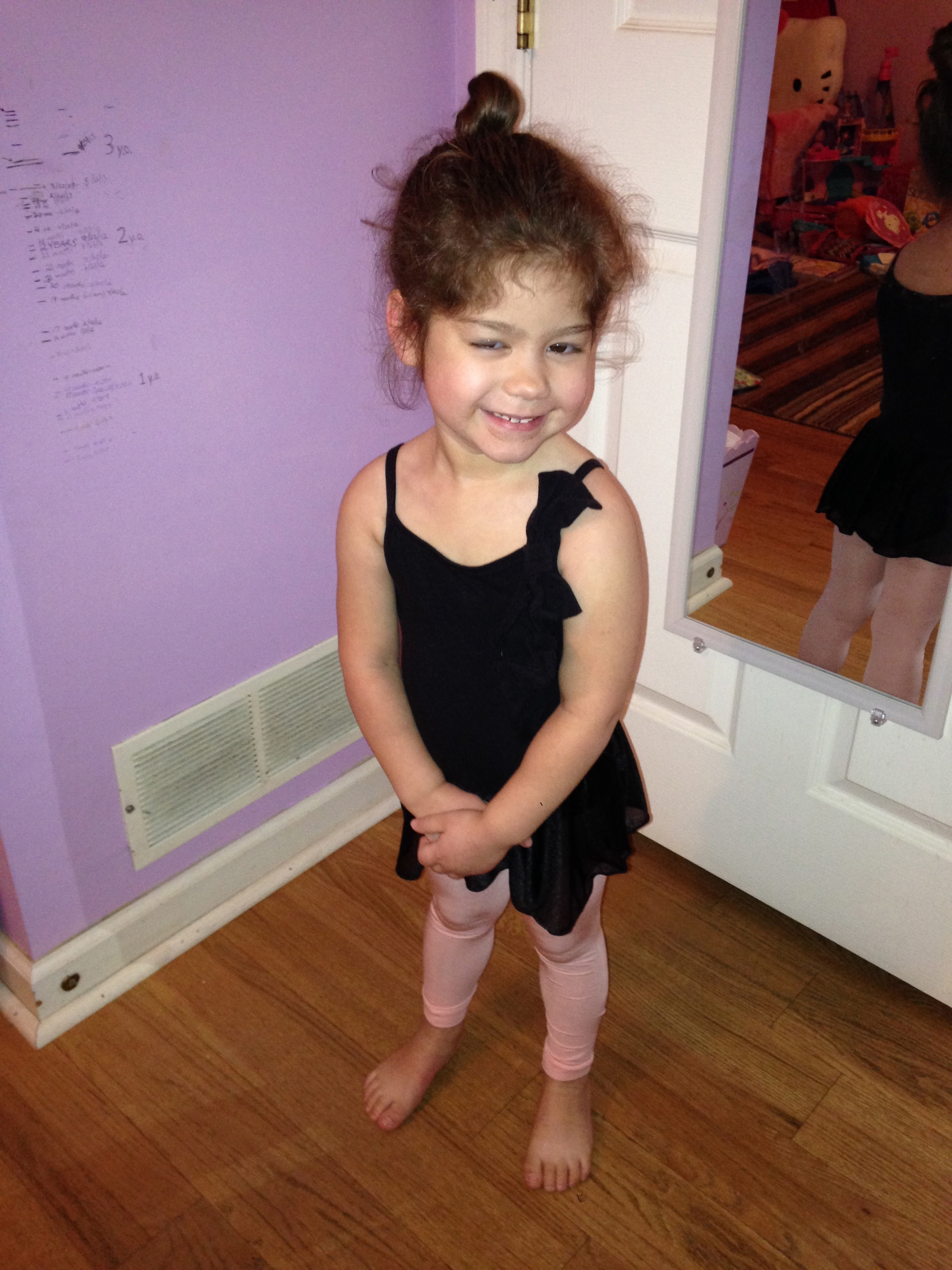 Ready to head to her first ballet class