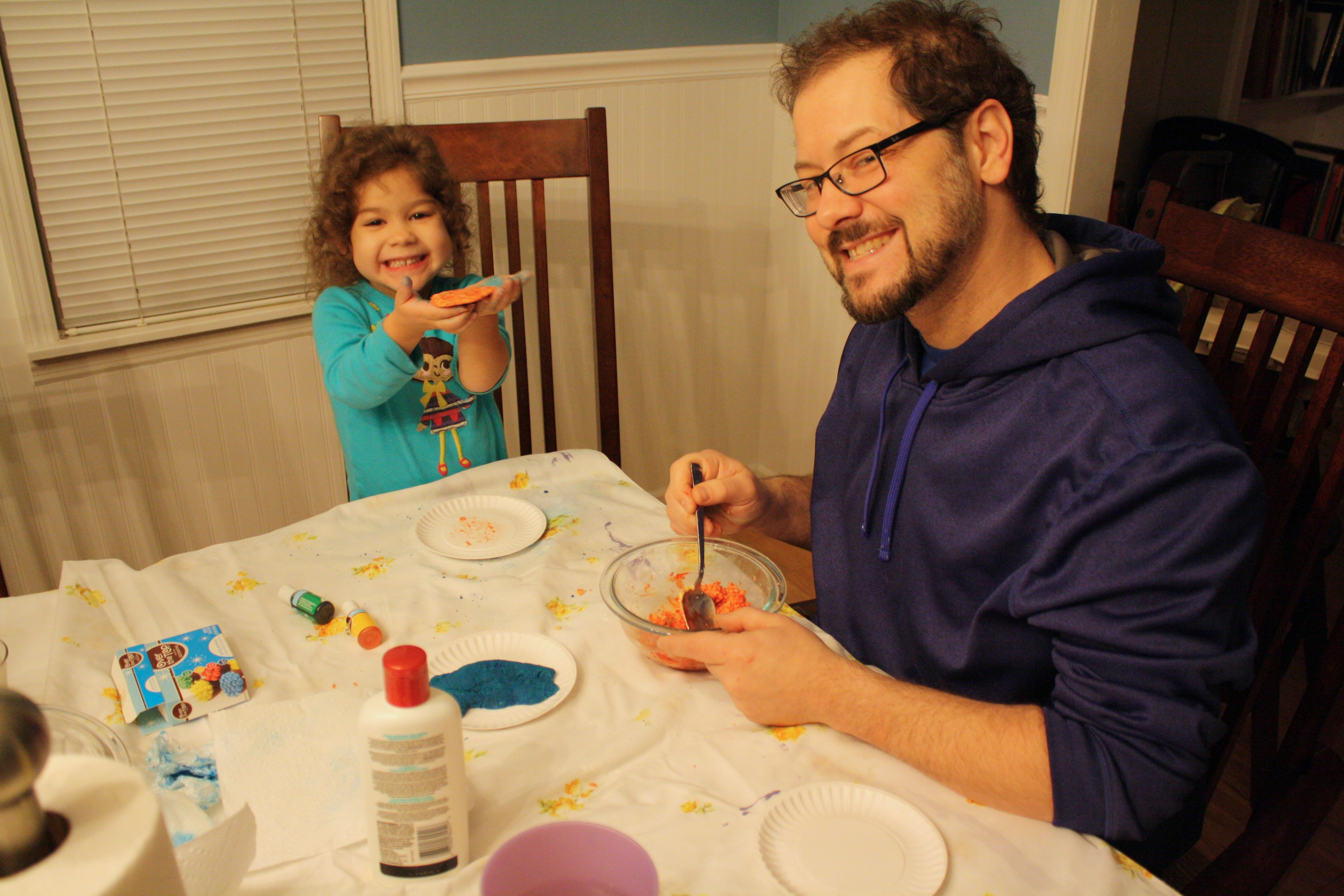 Making homemade play dough together