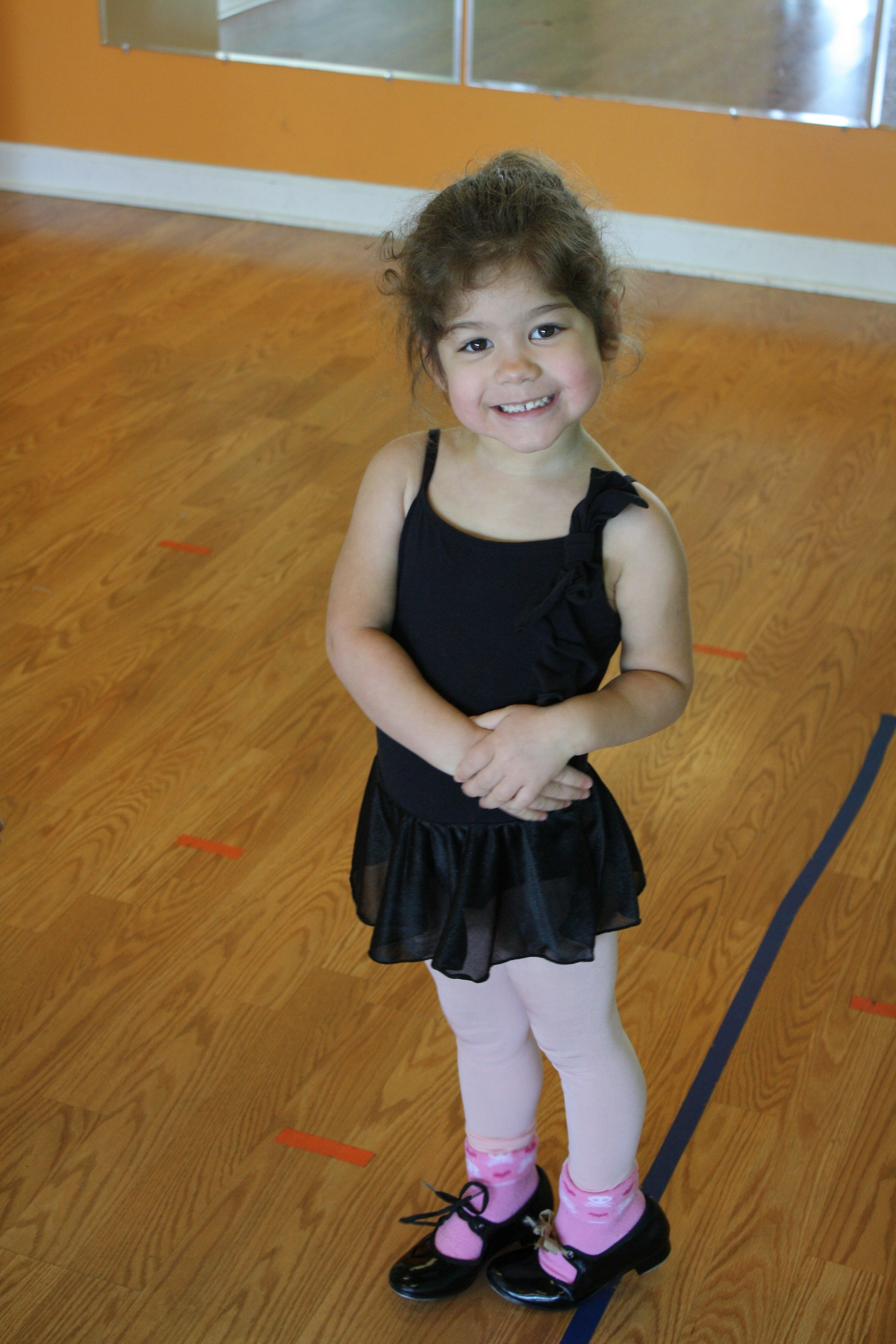 Tap shoes on and ready to dance