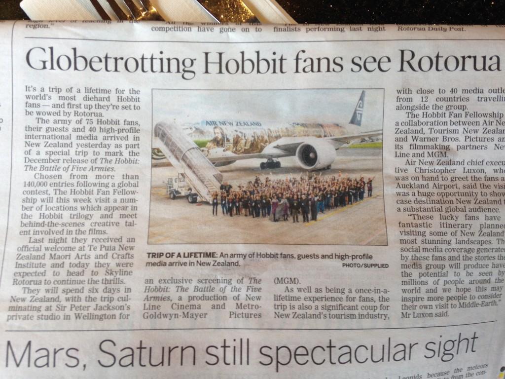 We were featured in the local paper in Rotorua using the plane photo op. Nan and I are somewhere on the right toward the back.